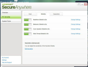 Installing the Webroot SecureAnywhere software upto five computers